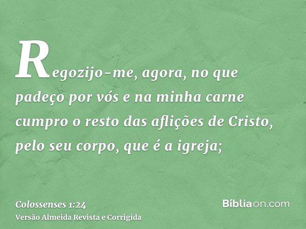 Regozijo-me, agora, no que padeço por vós e na minha carne cumpro o resto das aflições de Cristo, pelo seu corpo, que é a igreja;