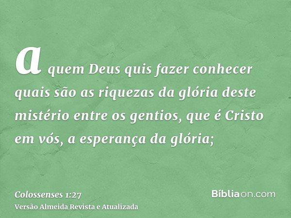 a quem Deus quis fazer conhecer quais são as riquezas da glória deste mistério entre os gentios, que é Cristo em vós, a esperança da glória;