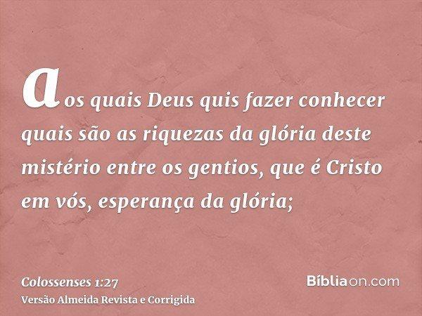 aos quais Deus quis fazer conhecer quais são as riquezas da glória deste mistério entre os gentios, que é Cristo em vós, esperança da glória;