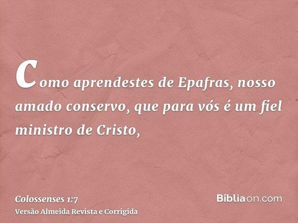 como aprendestes de Epafras, nosso amado conservo, que para vós é um fiel ministro de Cristo,