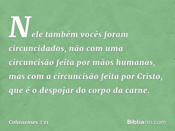 Nele também vocês foram circuncidados, não com uma circuncisão feita por mãos humanas, mas com a circuncisão feita por Cristo, que é o despojar do corpo da carn