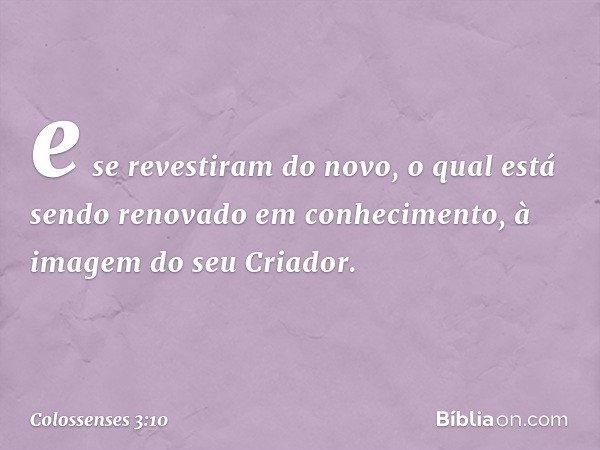 e se revestiram do novo, o qual está sendo renovado em conhecimento, à imagem do seu Criador. -- Colossenses 3:10