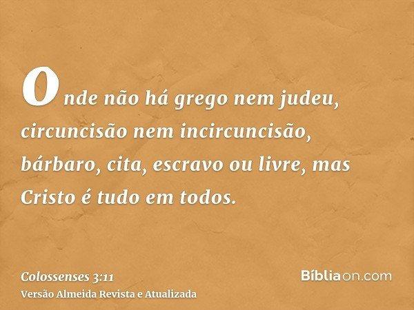 onde não há grego nem judeu, circuncisão nem incircuncisão, bárbaro, cita, escravo ou livre, mas Cristo é tudo em todos.