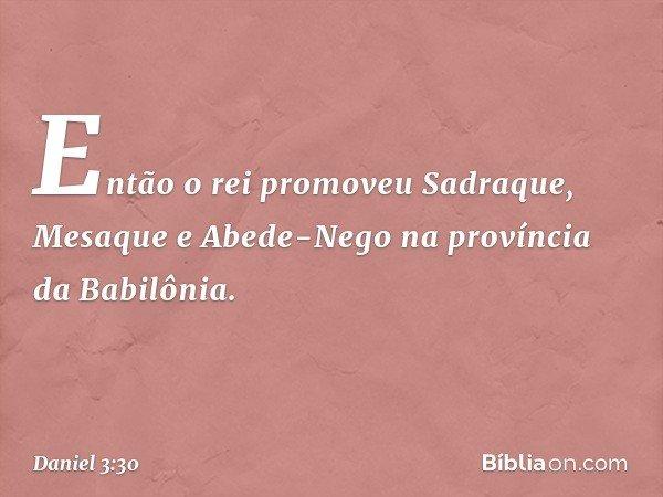 Então o rei promoveu Sadraque, Mesaque e Abede-Nego na província da Babilônia. -- Daniel 3:30
