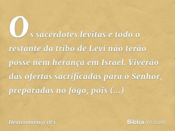 """""""Os sacerdotes levitas e todo o restante da tribo de Levi não terão posse nem herança em Israel. Viverão das ofertas sacrificadas para o Senhor, preparadas no f"""