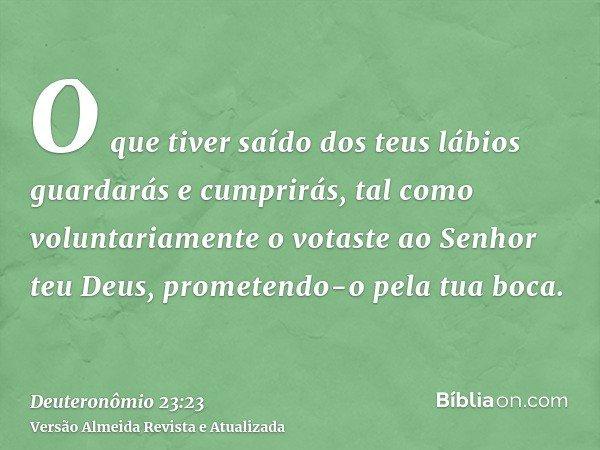 O que tiver saído dos teus lábios guardarás e cumprirás, tal como voluntariamente o votaste ao Senhor teu Deus, prometendo-o pela tua boca.