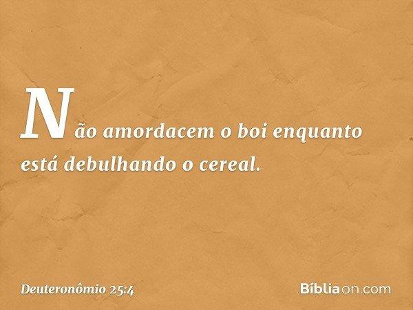 """""""Não amordacem o boi enquanto está debulhando o cereal. -- Deuteronômio 25:4"""