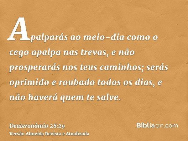 Apalparás ao meio-dia como o cego apalpa nas trevas, e não prosperarás nos teus caminhos; serás oprimido e roubado todos os dias, e não haverá quem te salve.