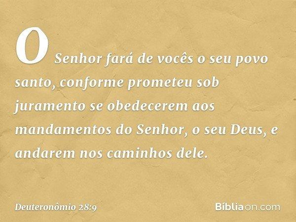 """""""O Senhor fará de vocês o seu povo santo, conforme prometeu sob juramento se obedecerem aos mandamentos do Senhor, o seu Deus, e andarem nos caminhos dele. -- D"""