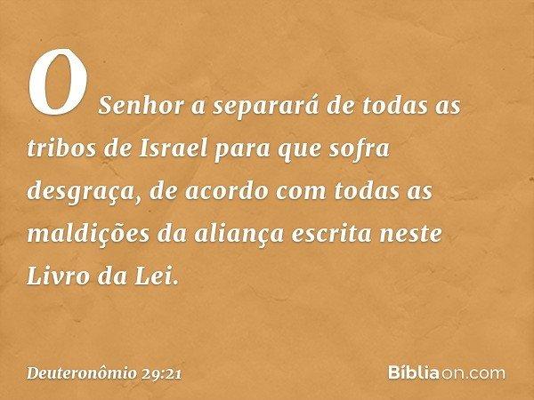 O Senhor a separará de todas as tribos de Israel para que sofra desgraça, de acordo com todas as maldições da aliança escrita neste Livro da Lei. -- Deuteronômi