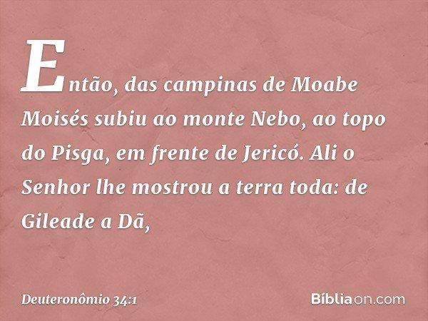 Então, das campinas de Moabe Moisés subiu ao monte Nebo, ao topo do Pisga, em frente de Jericó. Ali o Senhor lhe mostrou a terra toda: de Gileade a Dã, -- Deute