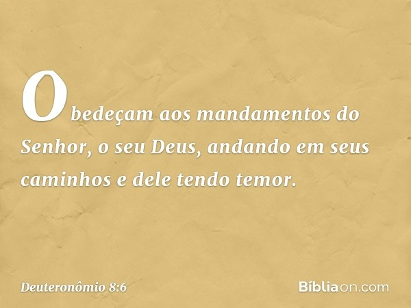 """""""Obedeçam aos mandamentos do Senhor, o seu Deus, andando em seus caminhos e dele tendo temor. -- Deuteronômio 8:6"""