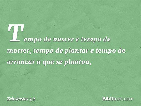 Tempo de nascer e tempo de morrer, tempo de plantar e tempo de arrancar o que se plantou, -- Eclesiastes 3:2