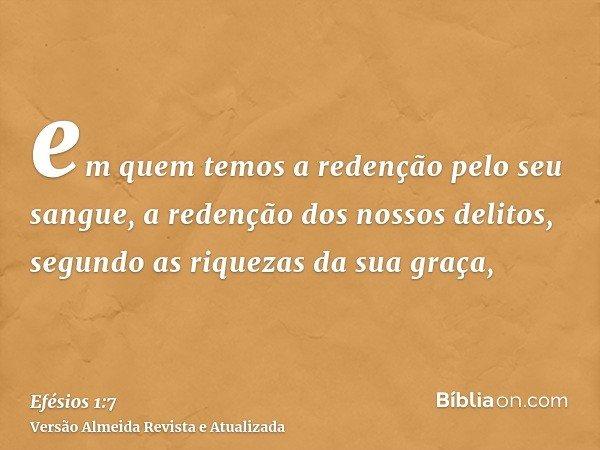 em quem temos a redenção pelo seu sangue, a redenção dos nossos delitos, segundo as riquezas da sua graça,