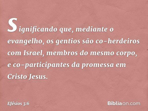 significando que, mediante o evangelho, os gentios são co-herdeiros com Israel, membros do mesmo corpo, e co-participantes da promessa em Cristo Jesus. -- Efési