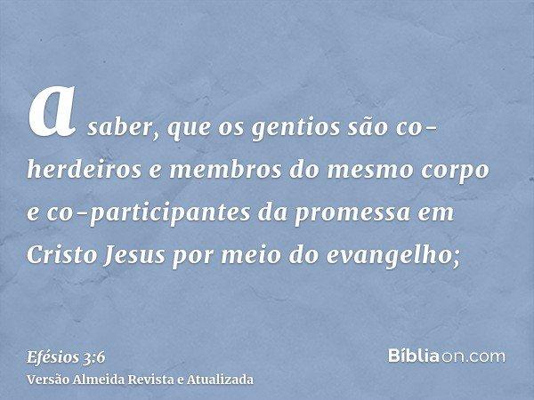 a saber, que os gentios são co-herdeiros e membros do mesmo corpo e co-participantes da promessa em Cristo Jesus por meio do evangelho;