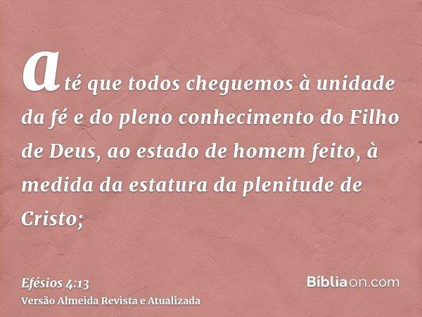 até que todos cheguemos à unidade da fé e do pleno conhecimento do Filho de Deus, ao estado de homem feito, à medida da estatura da plenitude de Cristo;