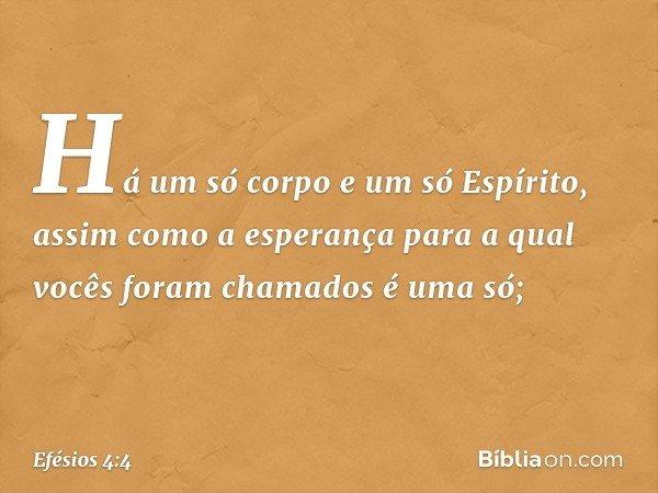 Há um só corpo e um só Espírito, assim como a esperança para a qual vocês foram chamados é uma só; -- Efésios 4:4