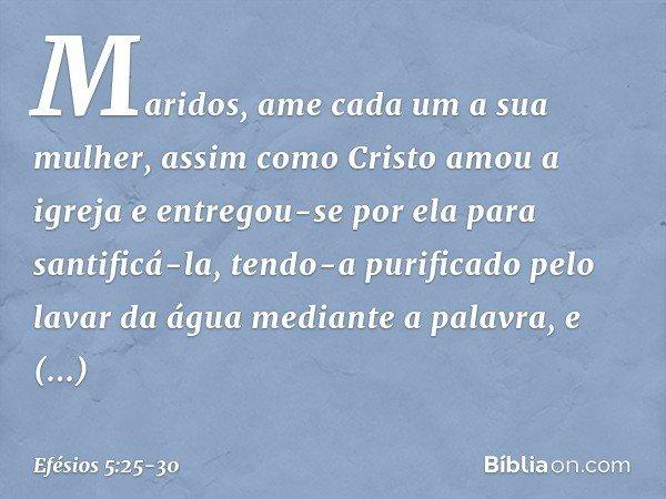 Maridos, ame cada um a sua mulher, assim como Cristo amou a igreja e entregou-se por ela para santificá-la, tendo-a purificado pelo lavar da água mediante a palavra