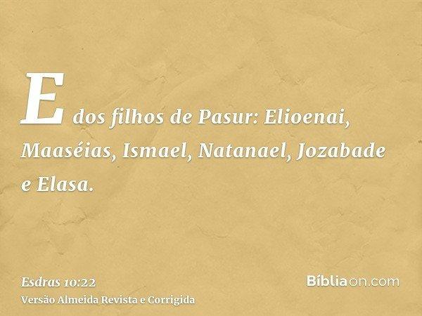 E dos filhos de Pasur: Elioenai, Maaséias, Ismael, Natanael, Jozabade e Elasa.