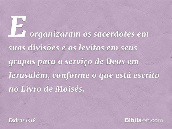 E organizaram os sacerdotes em suas divisões e os levitas em seus grupos para o serviço de Deus em Jerusalém, conforme o que está escrito no Livro de Moisés. -