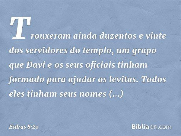 Trouxeram ainda duzentos e vinte dos servidores do templo, um grupo que Davi e os seus oficiais tinham formado para ajudar os levitas. Todos eles tinham seus no