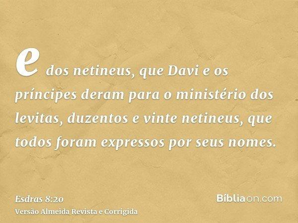e dos netineus, que Davi e os príncipes deram para o ministério dos levitas, duzentos e vinte netineus, que todos foram expressos por seus nomes.