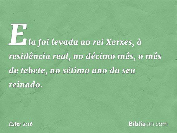 Ela foi levada ao rei Xerxes, à residência real, no décimo mês, o mês de tebete, no sétimo ano do seu reinado. -- Ester 2:16