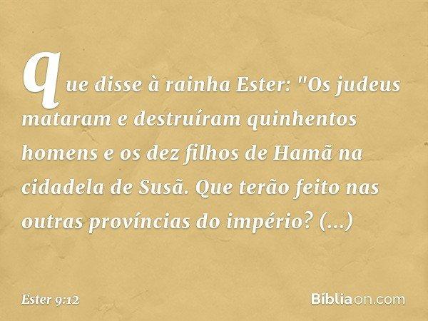 que disse à rainha Ester: