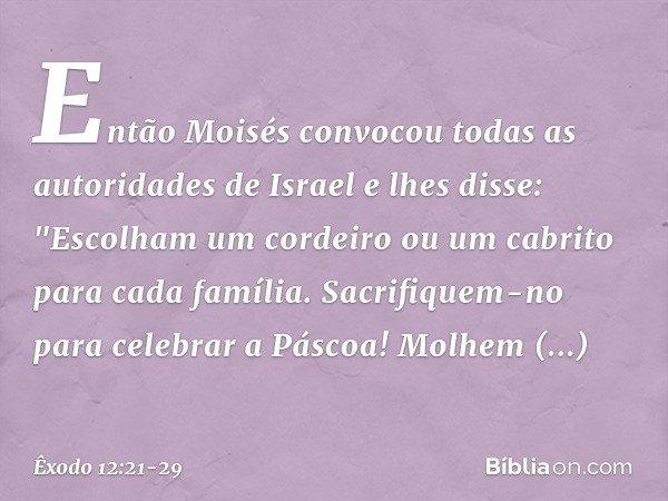 Então Moisés convocou todas as autoridades de Israel e lhes disse: