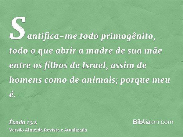 Santifica-me todo primogênito, todo o que abrir a madre de sua mãe entre os filhos de Israel, assim de homens como de animais; porque meu é.