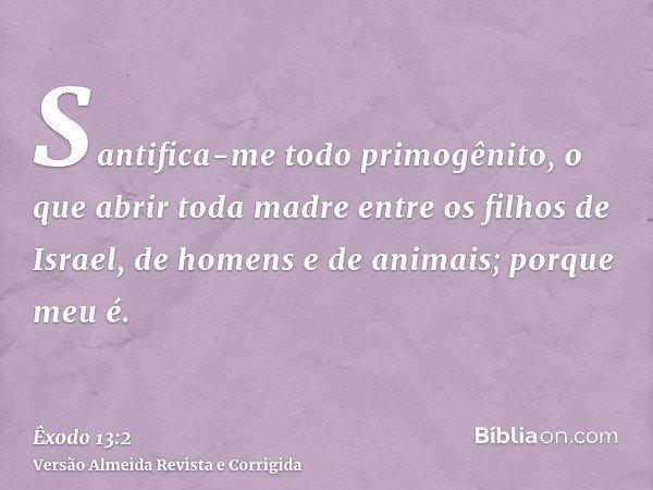 Santifica-me todo primogênito, o que abrir toda madre entre os filhos de Israel, de homens e de animais; porque meu é.
