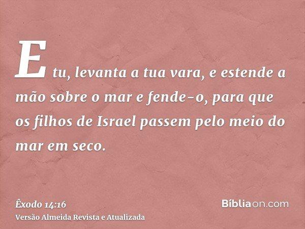 E tu, levanta a tua vara, e estende a mão sobre o mar e fende-o, para que os filhos de Israel passem pelo meio do mar em seco.