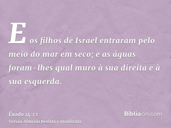 E os filhos de Israel entraram pelo meio do mar em seco; e as águas foram-lhes qual muro à sua direita e à sua esquerda.