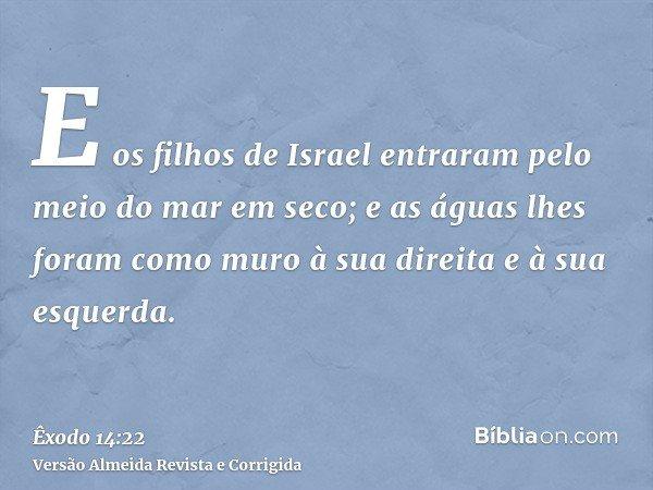 E os filhos de Israel entraram pelo meio do mar em seco; e as águas lhes foram como muro à sua direita e à sua esquerda.