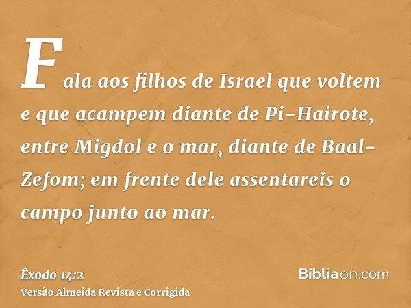 Fala aos filhos de Israel que voltem e que acampem diante de Pi-Hairote, entre Migdol e o mar, diante de Baal-Zefom; em frente dele assentareis o campo junto ao