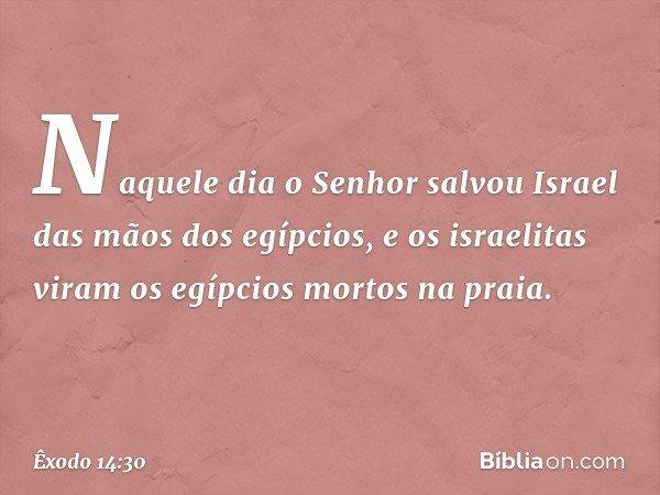 Naquele dia o Senhor salvou Israel das mãos dos egípcios, e os israelitas viram os egípcios mortos na praia. -- Êxodo 14:30