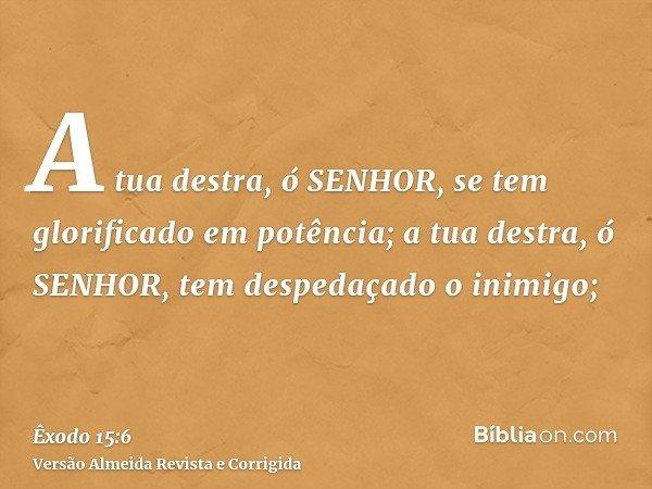 A tua destra, ó SENHOR, se tem glorificado em potência; a tua destra, ó SENHOR, tem despedaçado o inimigo;