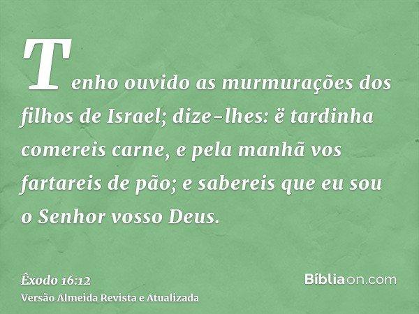 Tenho ouvido as murmurações dos filhos de Israel; dize-lhes: ë tardinha comereis carne, e pela manhã vos fartareis de pão; e sabereis que eu sou o Senhor vosso