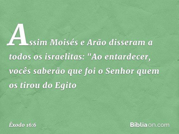 """Assim Moisés e Arão disseram a todos os israelitas: """"Ao entardecer, vocês saberão que foi o Senhor quem os tirou do Egito -- Êxodo 16:6"""