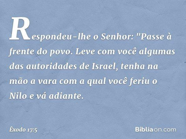 """Respondeu-lhe o Senhor: """"Passe à frente do povo. Leve com você algumas das autoridades de Israel, tenha na mão a vara com a qual você feriu o Nilo e vá adiante."""