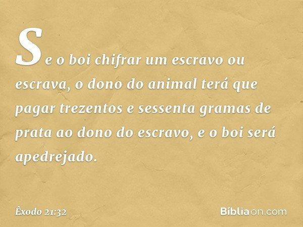 Se o boi chifrar um escravo ou escrava, o dono do animal terá que pagar trezentos e sessenta gramas de prata ao dono do escravo, e o boi será apedrejado. -- Êx