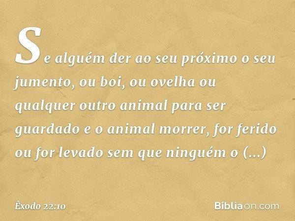 """""""Se alguém der ao seu próximo o seu jumento, ou boi, ou ovelha ou qualquer outro animal para ser guardado e o animal morrer, for ferido ou for levado sem que ni"""