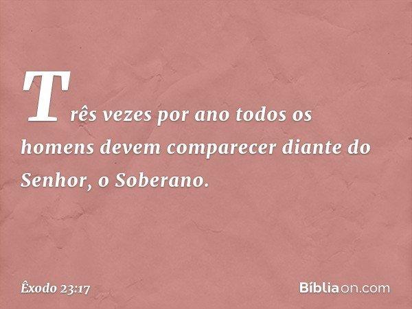 """""""Três vezes por ano todos os homens devem comparecer diante do Senhor, o Soberano. -- Êxodo 23:17"""