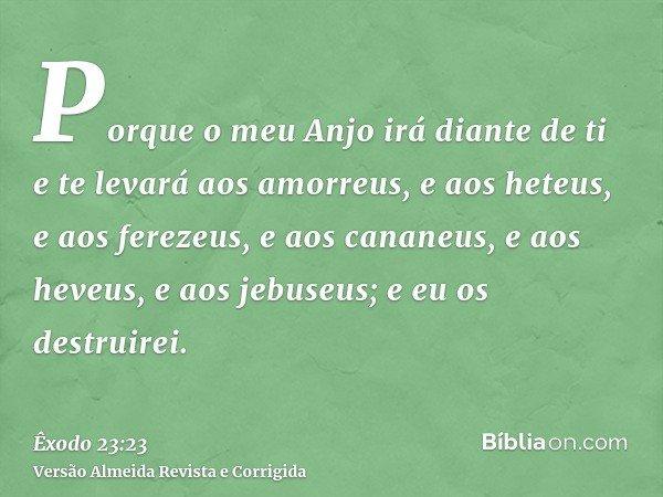 Porque o meu Anjo irá diante de ti e te levará aos amorreus, e aos heteus, e aos ferezeus, e aos cananeus, e aos heveus, e aos jebuseus; e eu os destruirei.