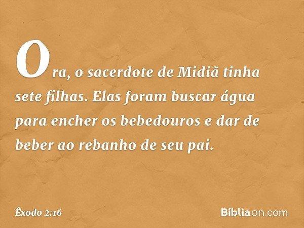 Ora, o sacerdote de Midiã tinha sete filhas. Elas foram buscar água para encher os bebedouros e dar de beber ao rebanho de seu pai. -- Êxodo 2:16
