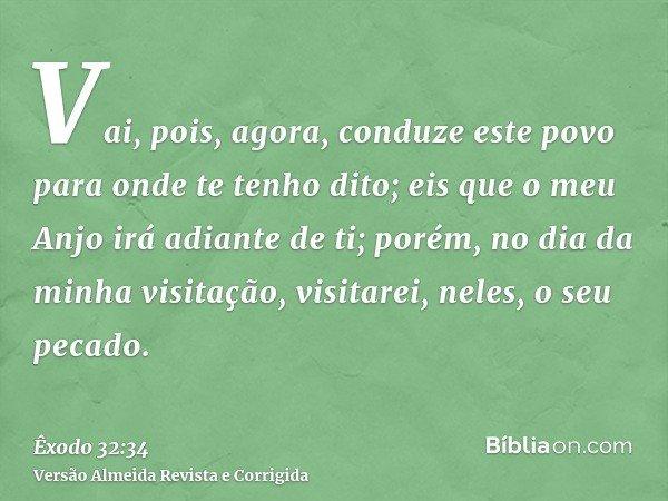 Vai, pois, agora, conduze este povo para onde te tenho dito; eis que o meu Anjo irá adiante de ti; porém, no dia da minha visitação, visitarei, neles, o seu pec