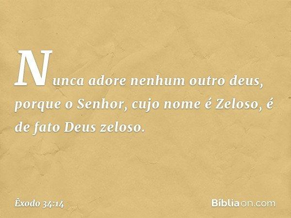 Nunca adore nenhum outro deus, porque o Senhor, cujo nome é Zeloso, é de fato Deus zeloso. -- Êxodo 34:14