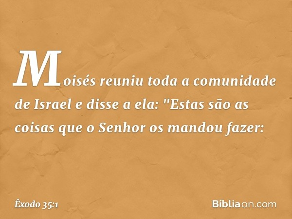 """Moisés reuniu toda a comunidade de Israel e disse a ela: """"Estas são as coisas que o Senhor os mandou fazer: -- Êxodo 35:1"""