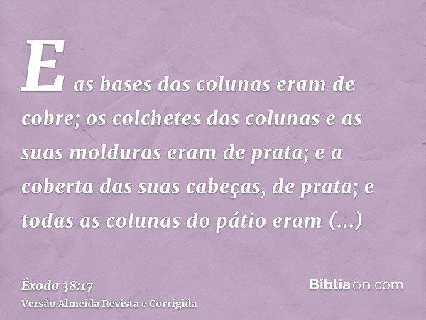 E as bases das colunas eram de cobre; os colchetes das colunas e as suas molduras eram de prata; e a coberta das suas cabeças, de prata; e todas as colunas do p